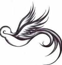 Black swallow tattoo design