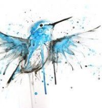 Blue and white hummingbird tattoo design