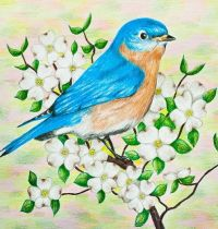 Bluebird among white flowers tattoo design