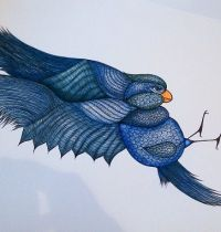 Bluebird in flight tattoo design
