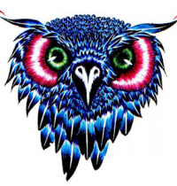 Blue head of owl tattoo design