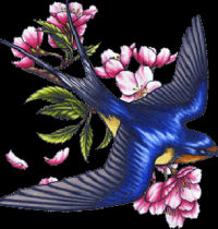 Blue swallow and flower design
