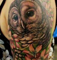 Brown owl and flowers tattoo