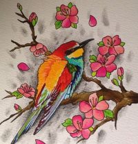 Colourful sparrow with flowers tattoo