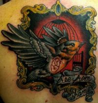 Dark tattoo with bird