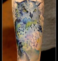 Grey owl tattoo with patterns