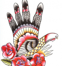 Hand as turkey with flowers