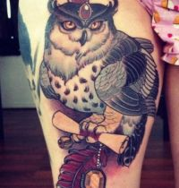 Owl with diamonds tattoo