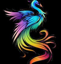Peacock in rainbow colours
