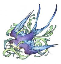 Purple and blue swallow tattoo design
