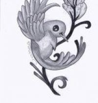 Swallow and flower tattoo design