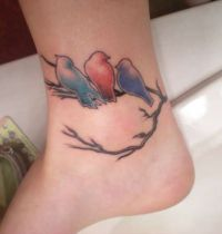 Tattoo with three birds on branch