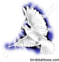 White dove with big wings as tattoo