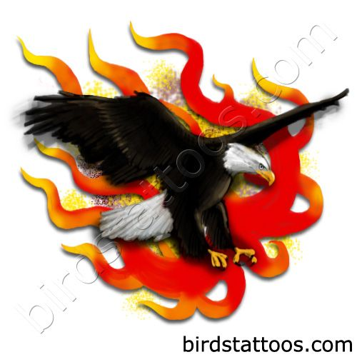 Black eagle in fires tattoo design