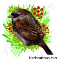 Tattoo with dark sparrow among fruits