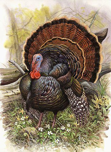 Big turkey in forest tattoo design