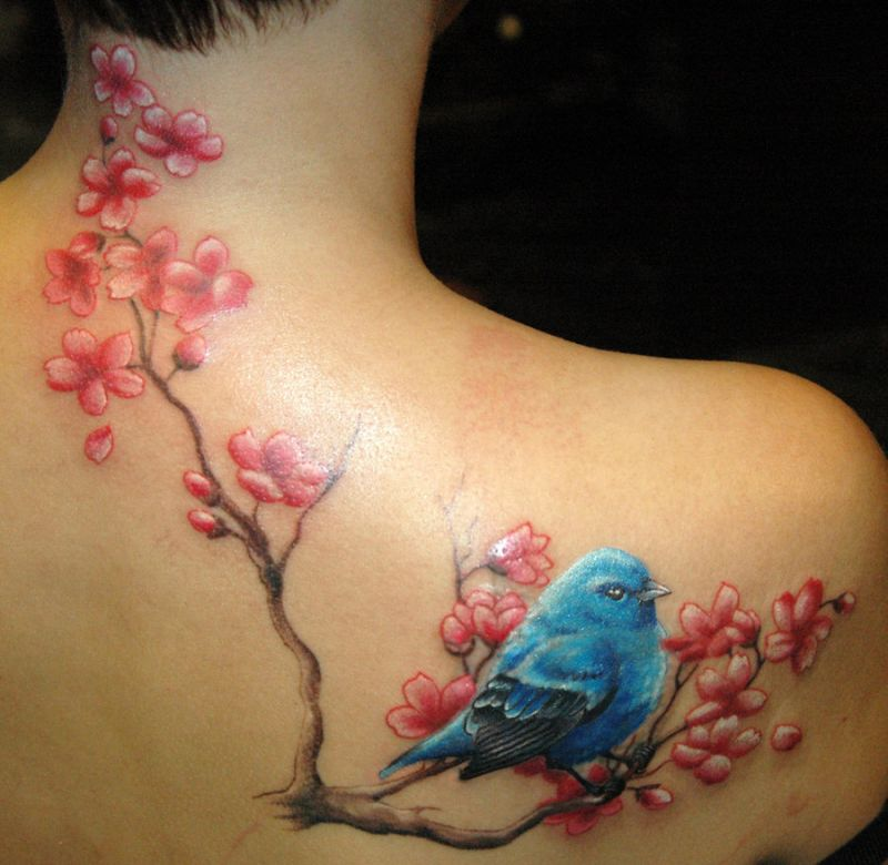 Bird and cherry flowers as tattoo