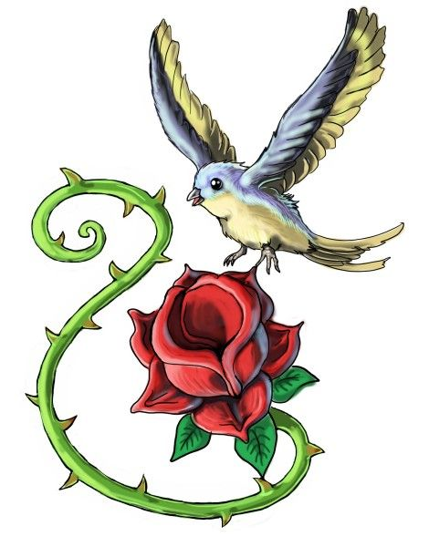bird and red rose tattoo design. Black Bedroom Furniture Sets. Home Design Ideas
