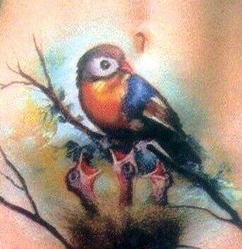 Bird on nest tattoo
