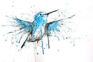 Blue and white hummingbird tattoo design