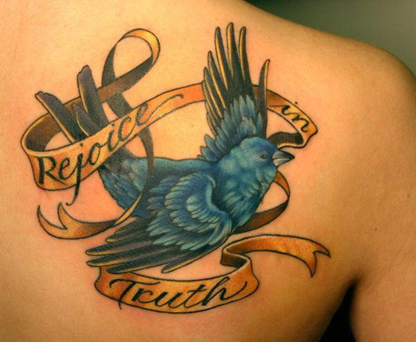 Bluebird and gold ribbon tattoo for Gold ribbon tattoos