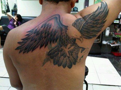 Eagle motive on tattoo