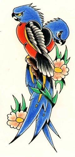 Parrots tattoo design