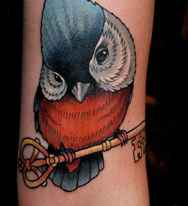 Sparrow tattoo in colour