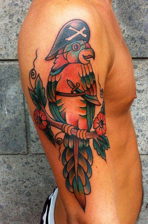 Pirate parrots tattoo