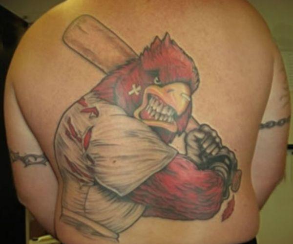 Red bird player tattoo