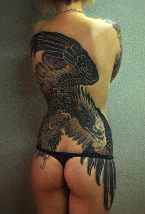 The  tattoo on back with black