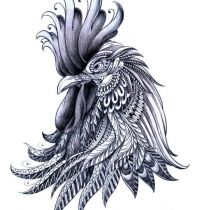 Awesome rooster head tattoo design
