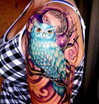 Blue owl and moon tattoo