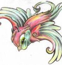 Cartoon bird tattoo design