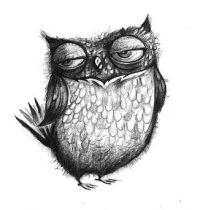 Funny owl tattoo design