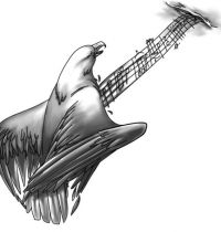 Guitar with bird and music notes