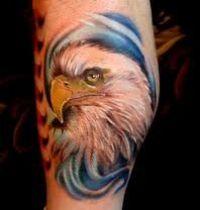 Head of white eagle tattoo