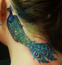 Neck tattoo with peacock