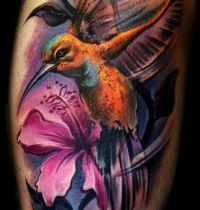 Orange humminbird tattoo