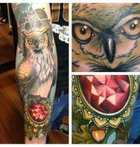Owl and diamond tattoo