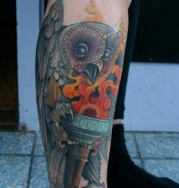 Owl tattoo with fires