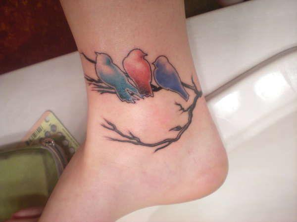Tattoo with three birds on branch for Three little birds tattoo
