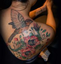 Sparrow and roses tattoo