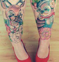 Two tattoo on legs animals motive