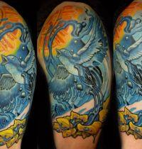 Tattoo with bluebird