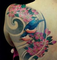 Two birds and flowers tattoo