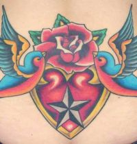 Two birds heart and rose tattoo