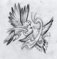 Two doves in flight tattoo design