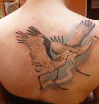 Two white birds tattoo
