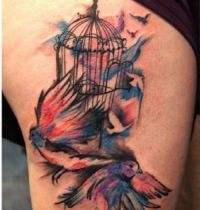 Watercolours tattoo with birds
